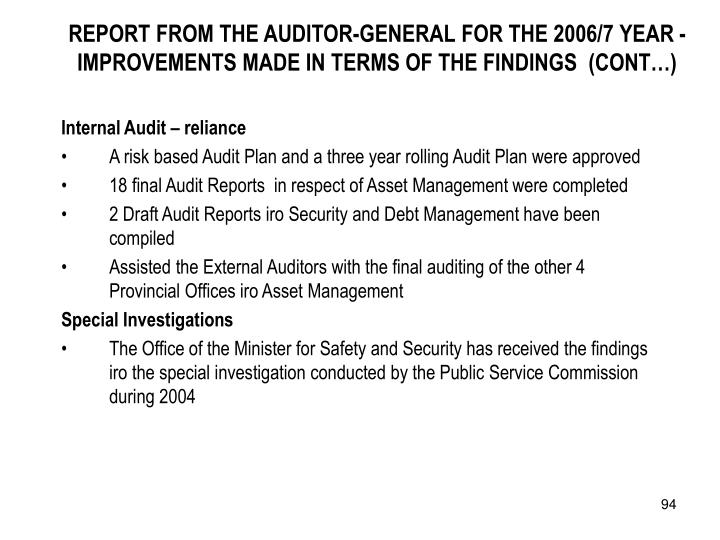 REPORT FROM THE AUDITOR-GENERAL FOR THE 2006/7 YEAR - IMPROVEMENTS MADE IN TERMS OF THE FINDINGS  (CONT…)