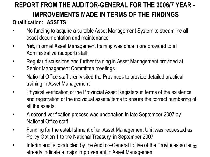 REPORT FROM THE AUDITOR-GENERAL FOR THE 2006/7 YEAR -