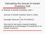calculating the annual in transit inventory cost