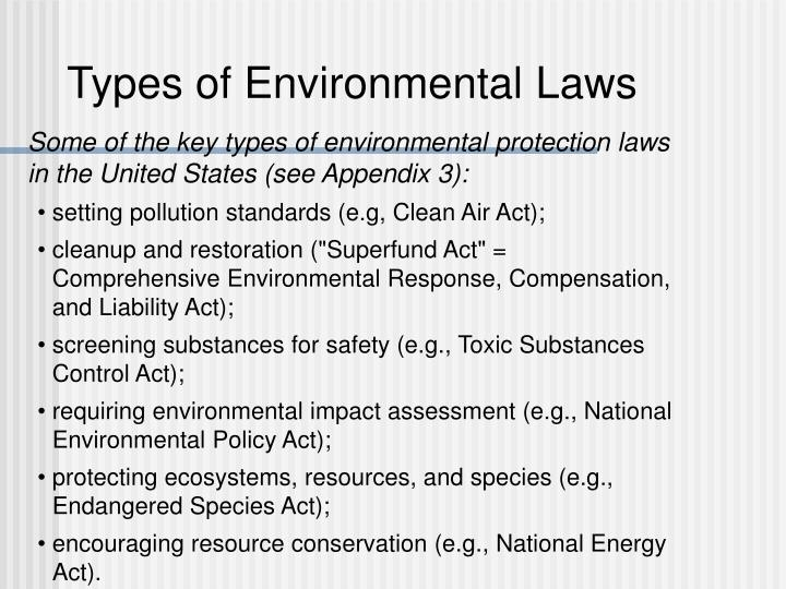 Types of Environmental Laws
