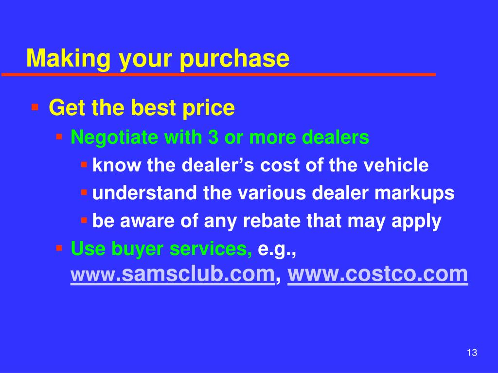 Making your purchase