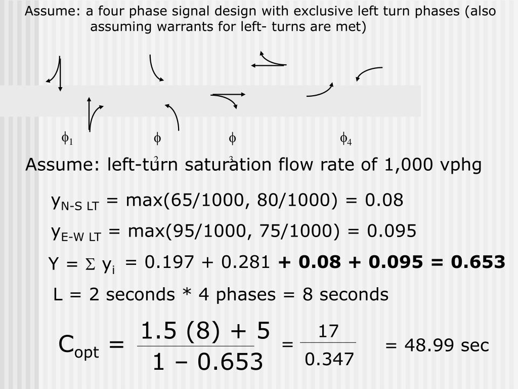 Assume: a four phase signal design with exclusive left turn phases (also    assuming warrants for left- turns are met)