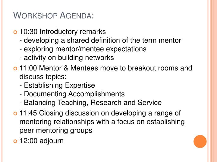 Workshop Agenda: