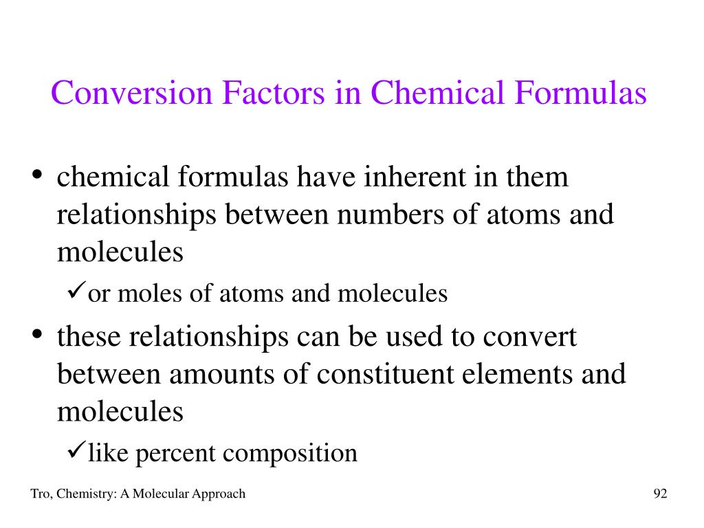 Conversion Factors in Chemical Formulas
