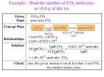 example find the number of co 2 molecules in 10 8 g of dry ice