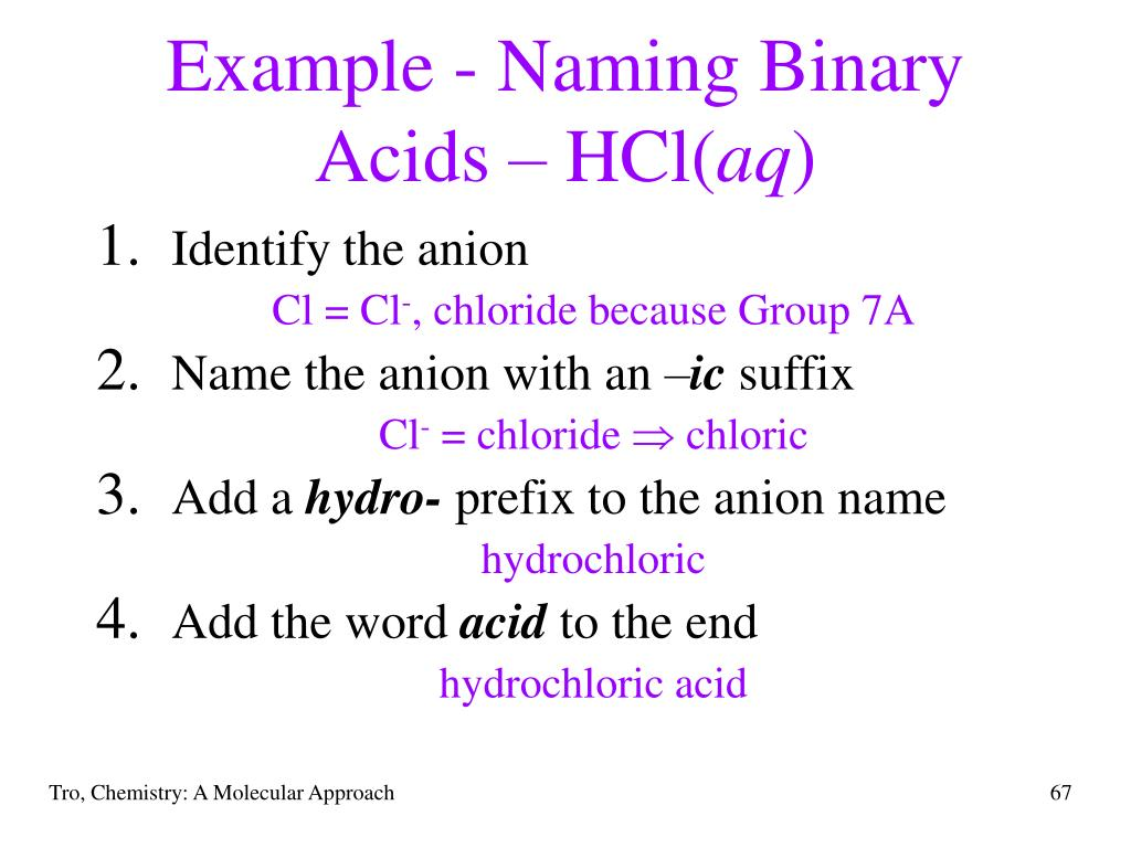 Example - Naming Binary Acids – HCl(