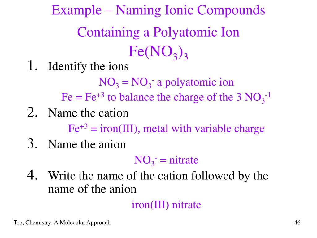 Example – Naming Ionic Compounds