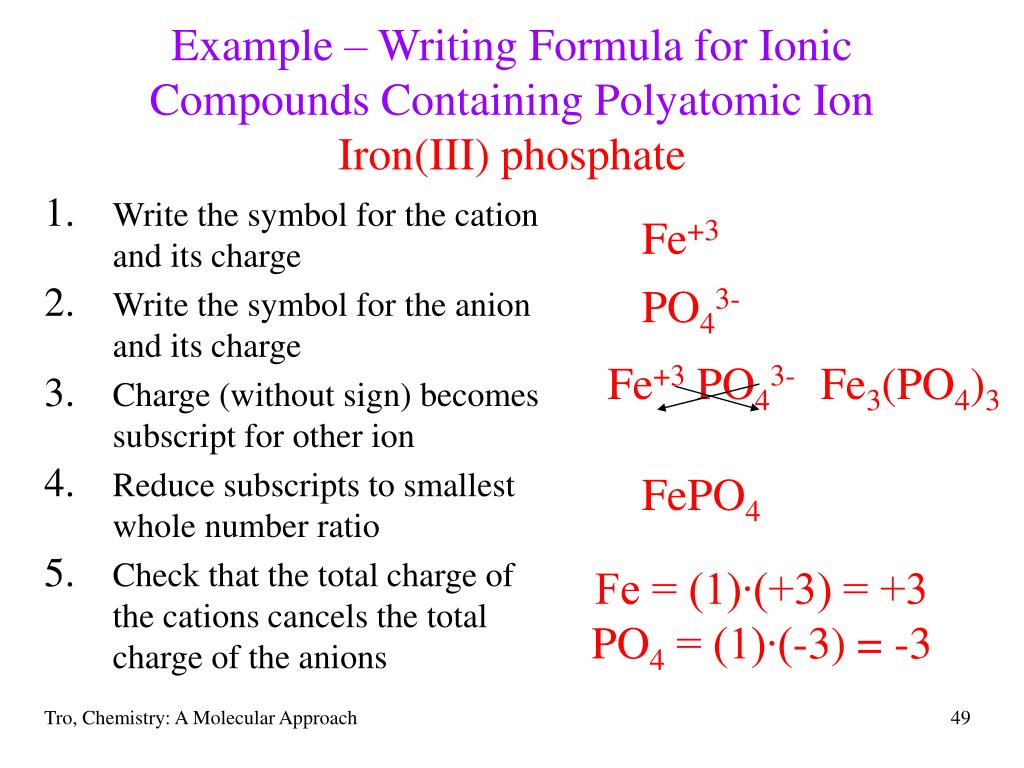 Example – Writing Formula for Ionic Compounds Containing Polyatomic Ion