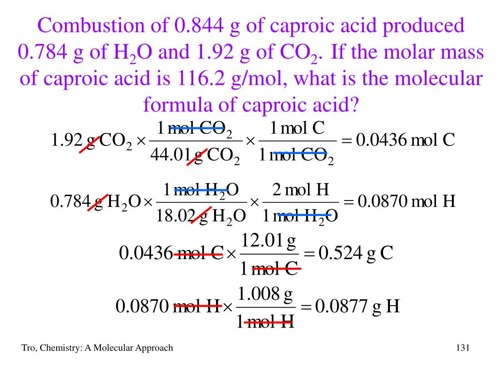 Combustion of 0.844 g of caproic acid produced 0.784 g of H