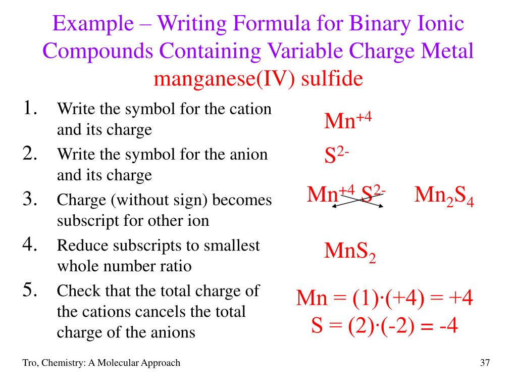 Example – Writing Formula for Binary Ionic Compounds Containing Variable Charge Metal