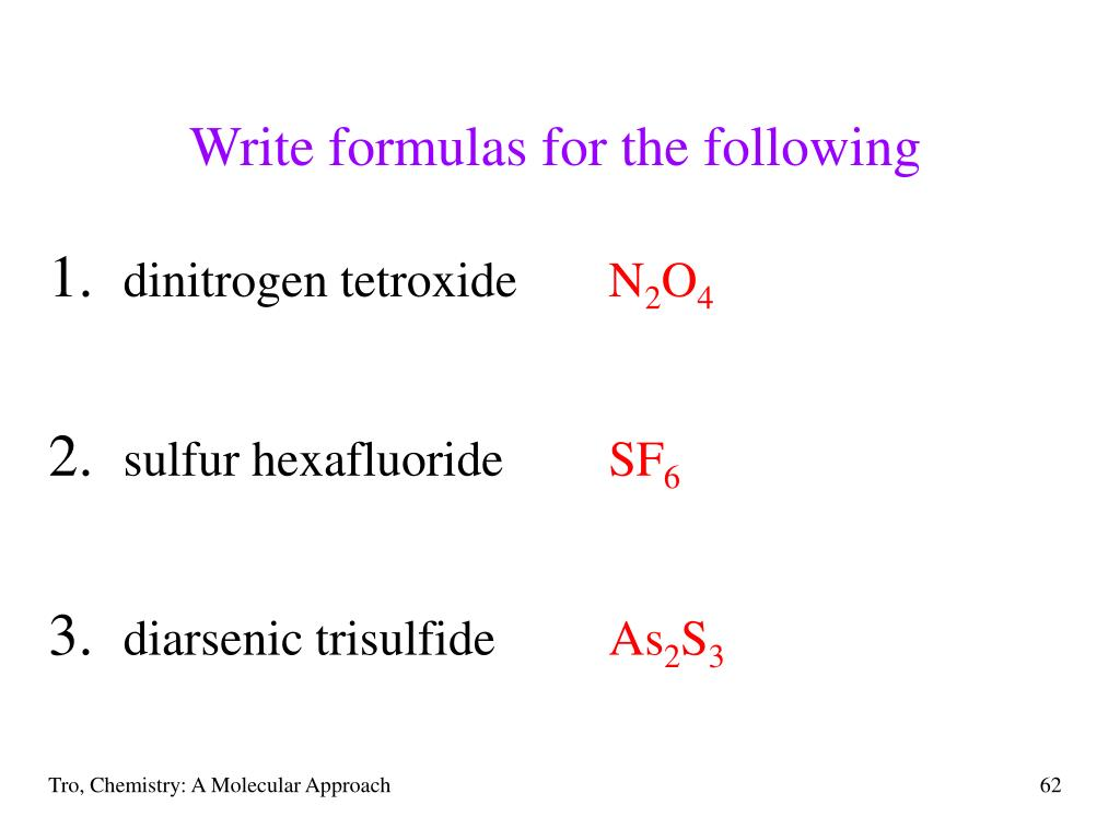 Write formulas for the following