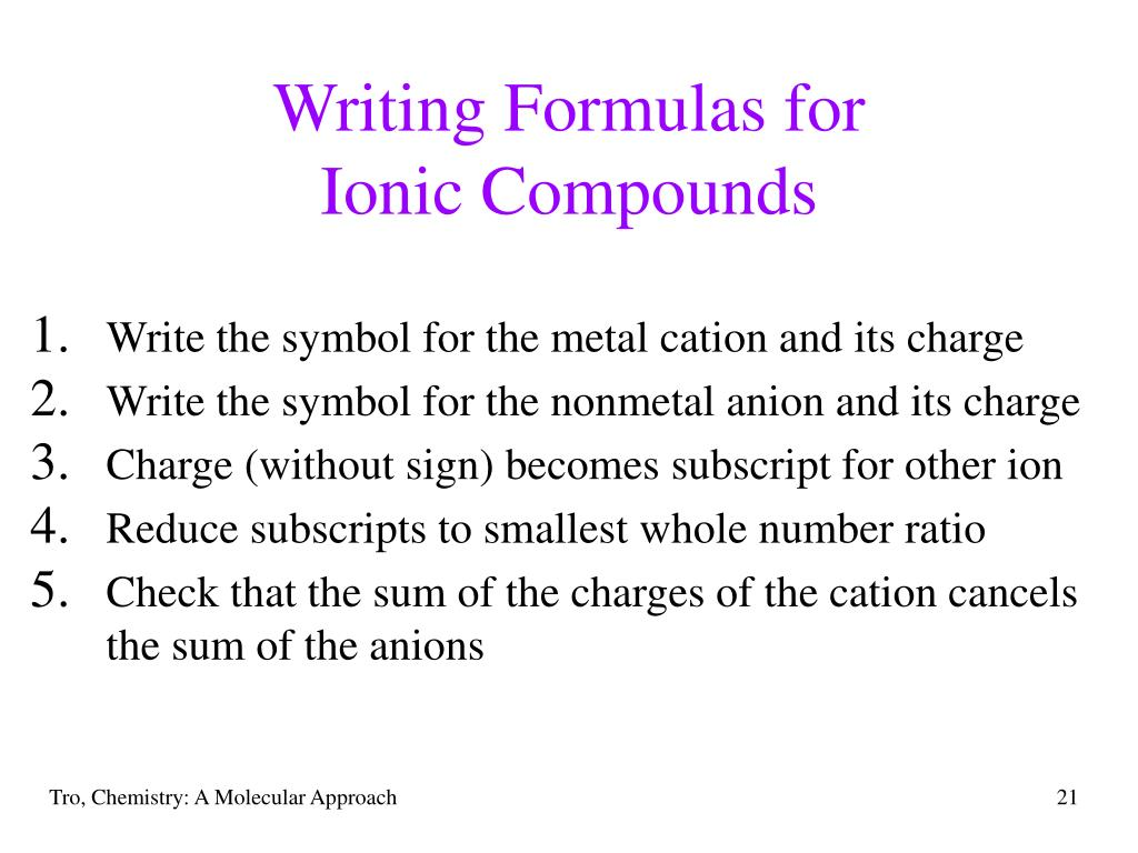 Writing Formulas for