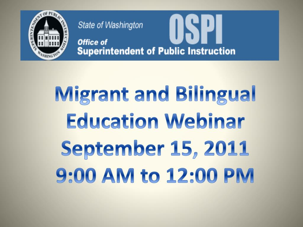 Migrant and Bilingual Education Webinar
