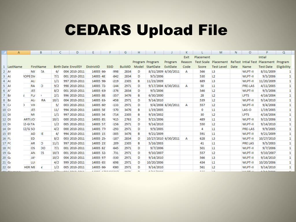 CEDARS Upload File