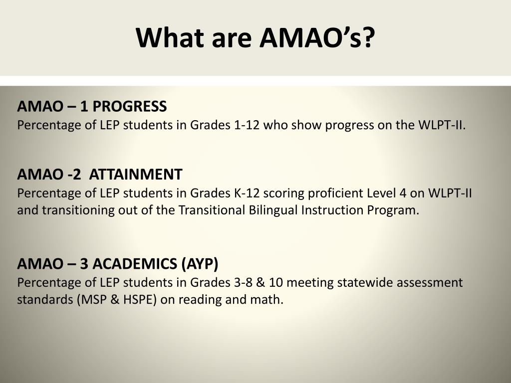What are AMAO's?