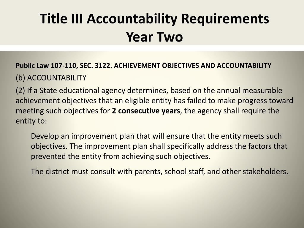 Title III Accountability Requirements