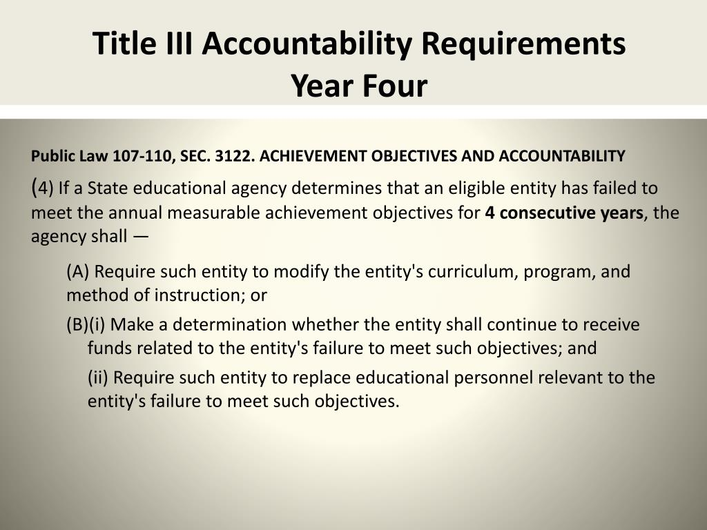 Title III Accountability Requirements