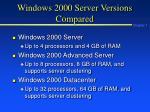 windows 2000 server versions compared
