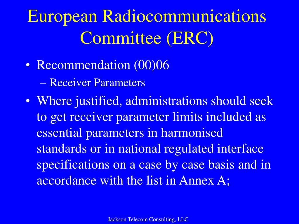 European Radiocommunications Committee (ERC)