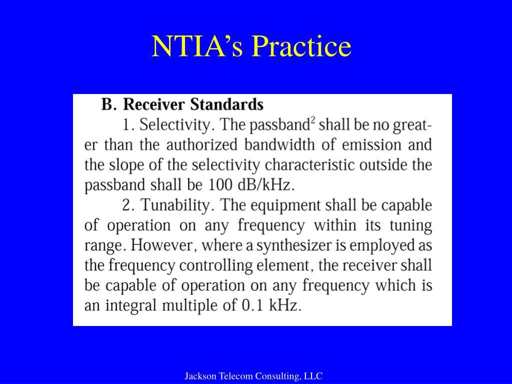 NTIA's Practice