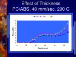 effect of thickness pc abs 40 mm sec 200 c