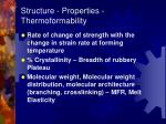 structure properties thermoformability