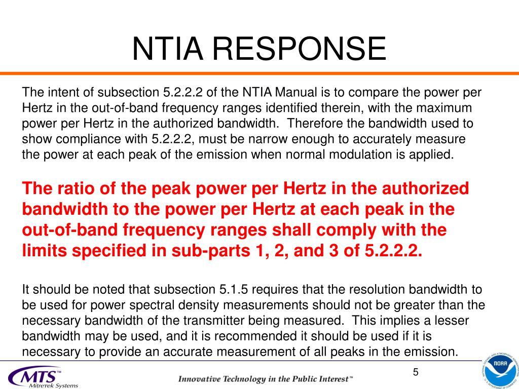 NTIA RESPONSE