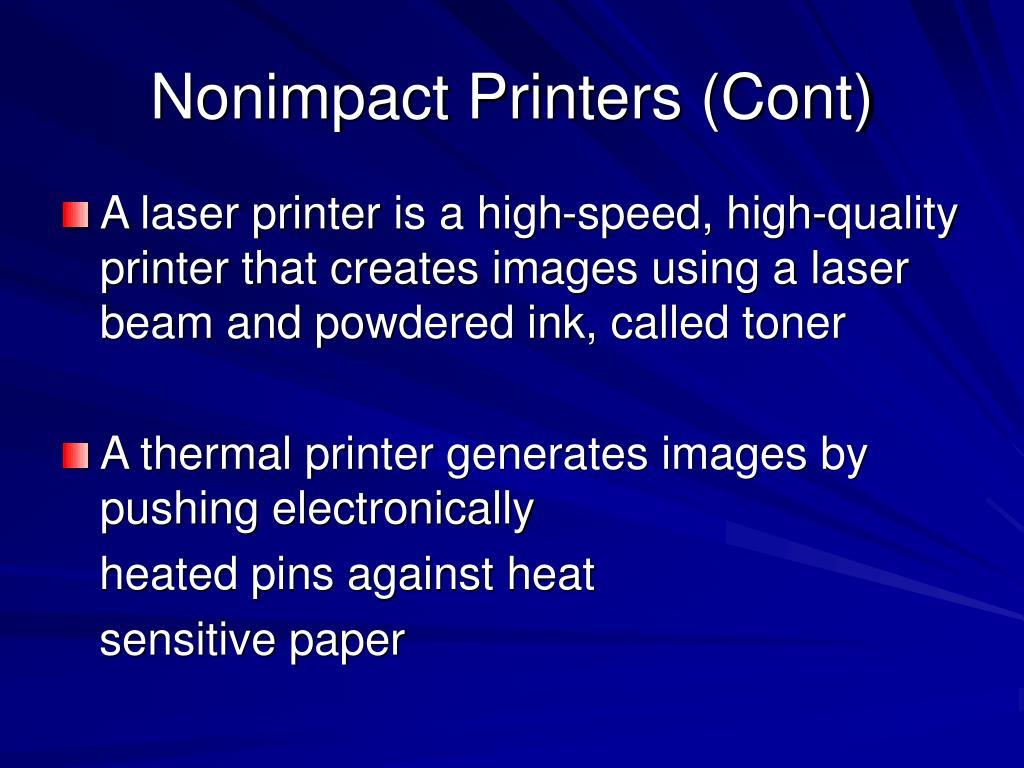 Nonimpact Printers (Cont)