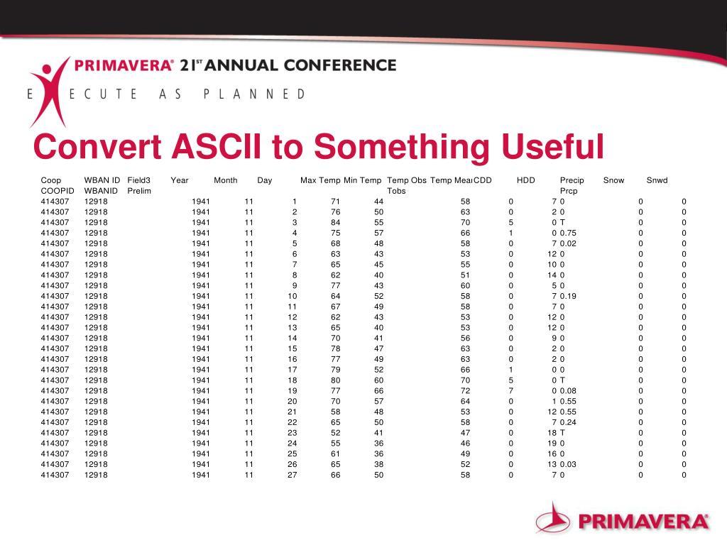 Convert ASCII to Something Useful