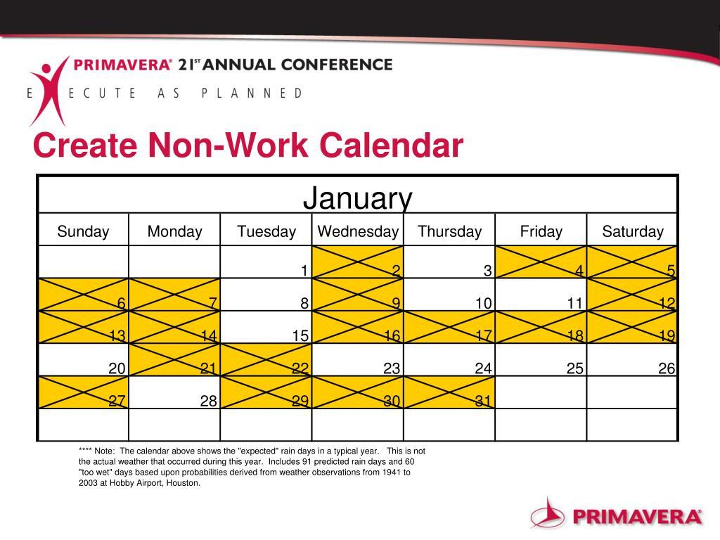 Create Non-Work Calendar
