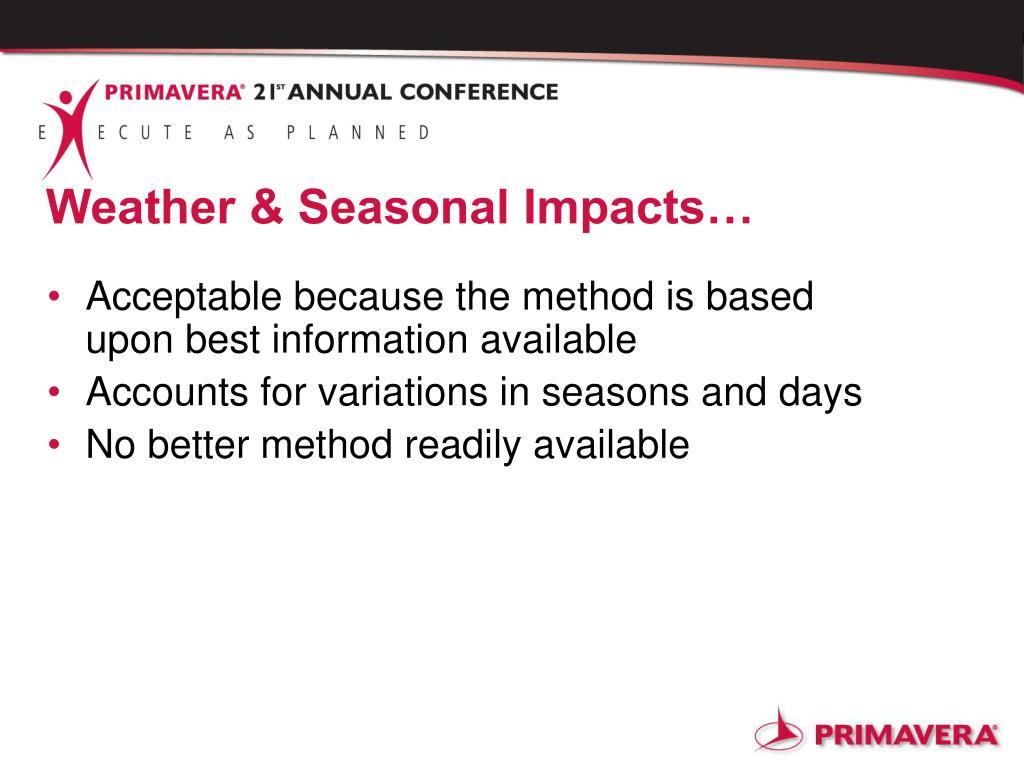 Weather & Seasonal Impacts…