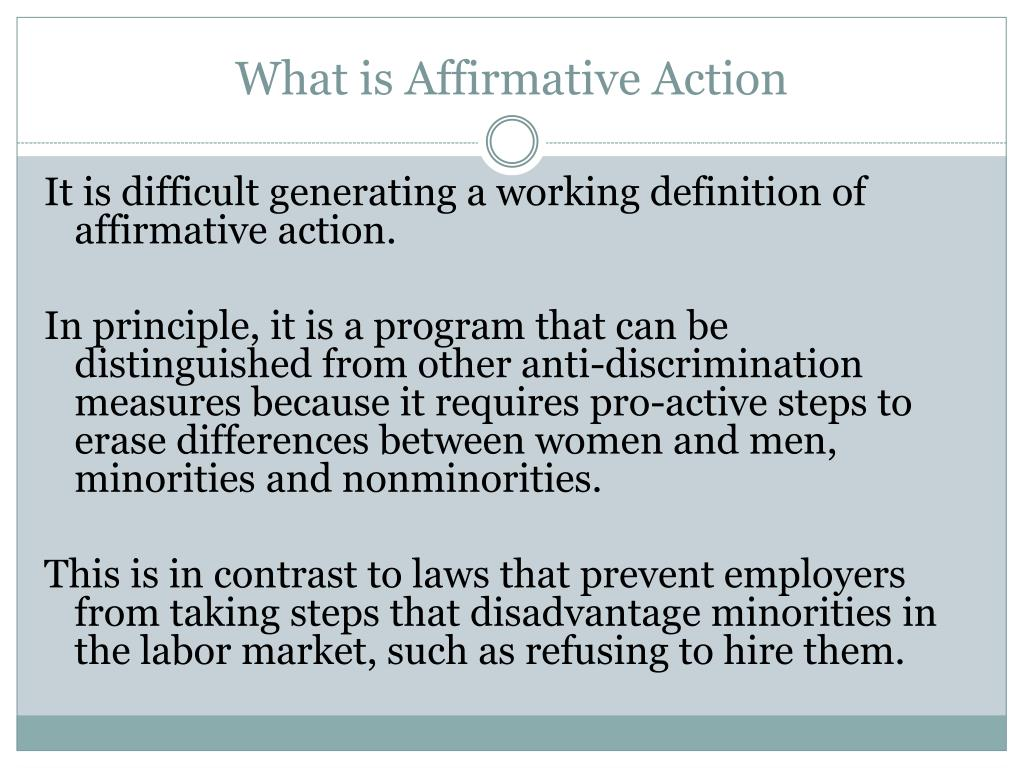 affirmative action program Affirmative action and people with disabilities - explains why people with disabilities should be included in affirmative action programs and what contractors' affirmative action obligations are pertaining to outreach and recruitment of people with disabilities.