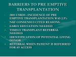 barriers to pre emptive transplantation