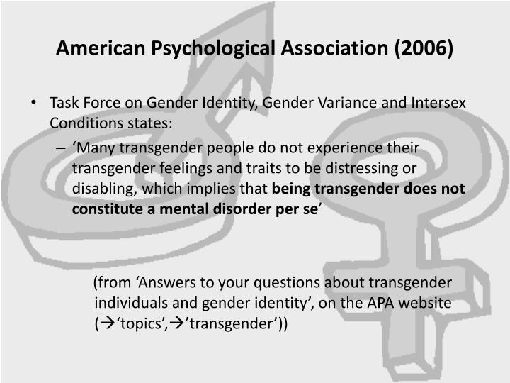 American Psychological Association (2006)
