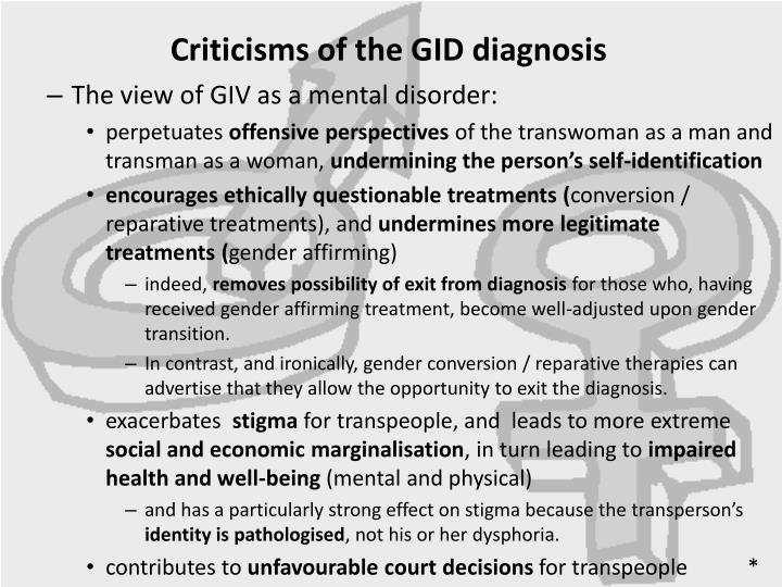 Criticisms of the GID diagnosis