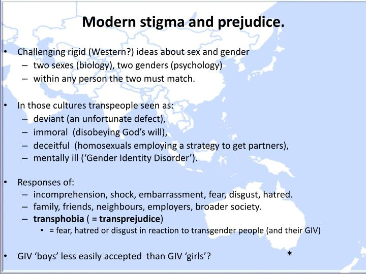 Modern stigma and prejudice.
