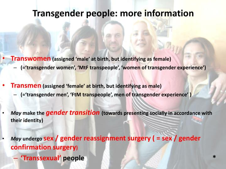 Transgender people: more information