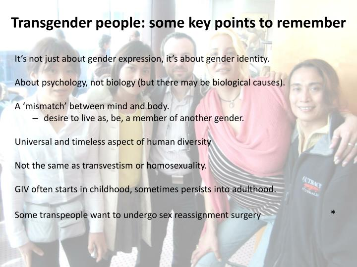 Transgender people: some key points to remember