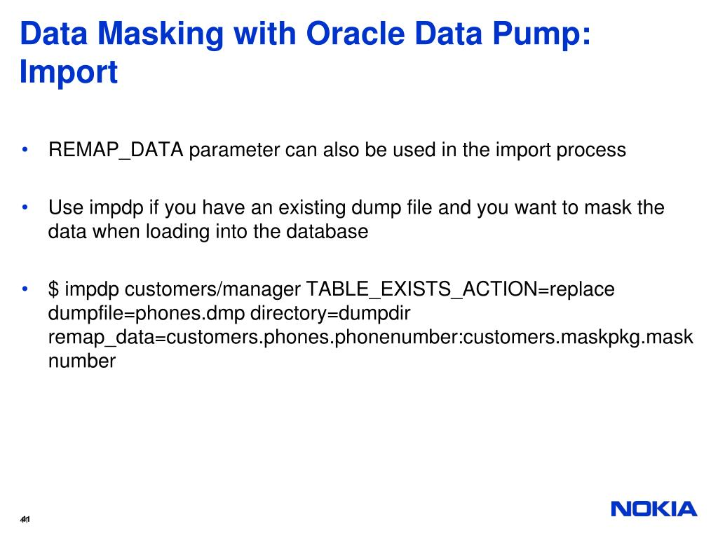 Data Masking with Oracle Data Pump: