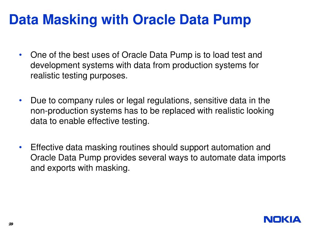 Data Masking with Oracle Data Pump