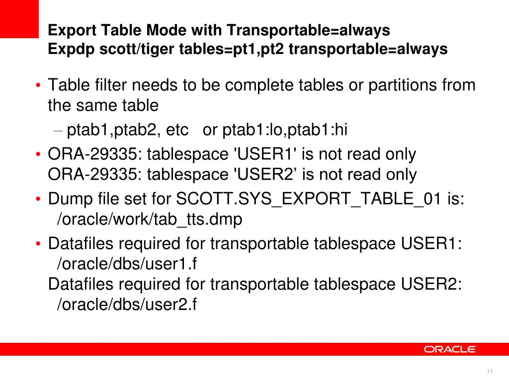 Export Table Mode with Transportable=always