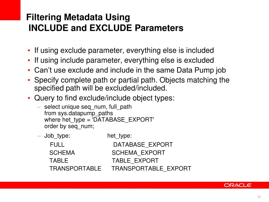 Filtering Metadata Using