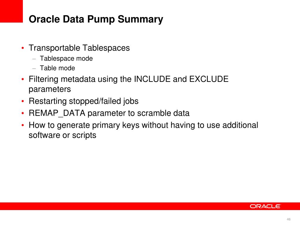 Oracle Data Pump Summary