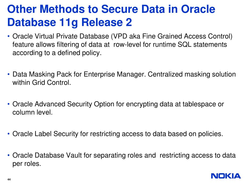 Other Methods to Secure Data in Oracle Database 11g Release 2
