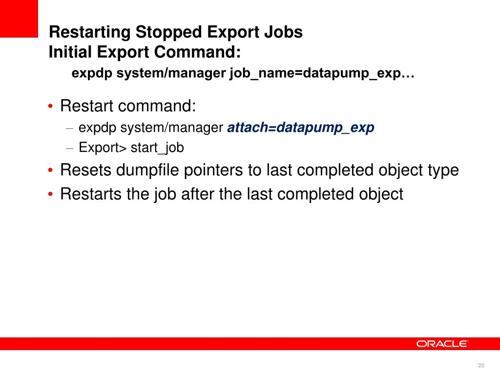 Restarting Stopped Export Jobs
