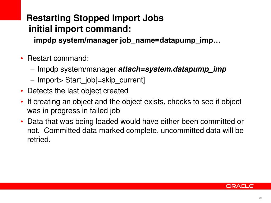 Restarting Stopped Import Jobs