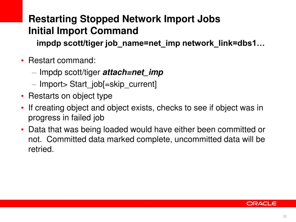 Restarting Stopped Network Import Jobs