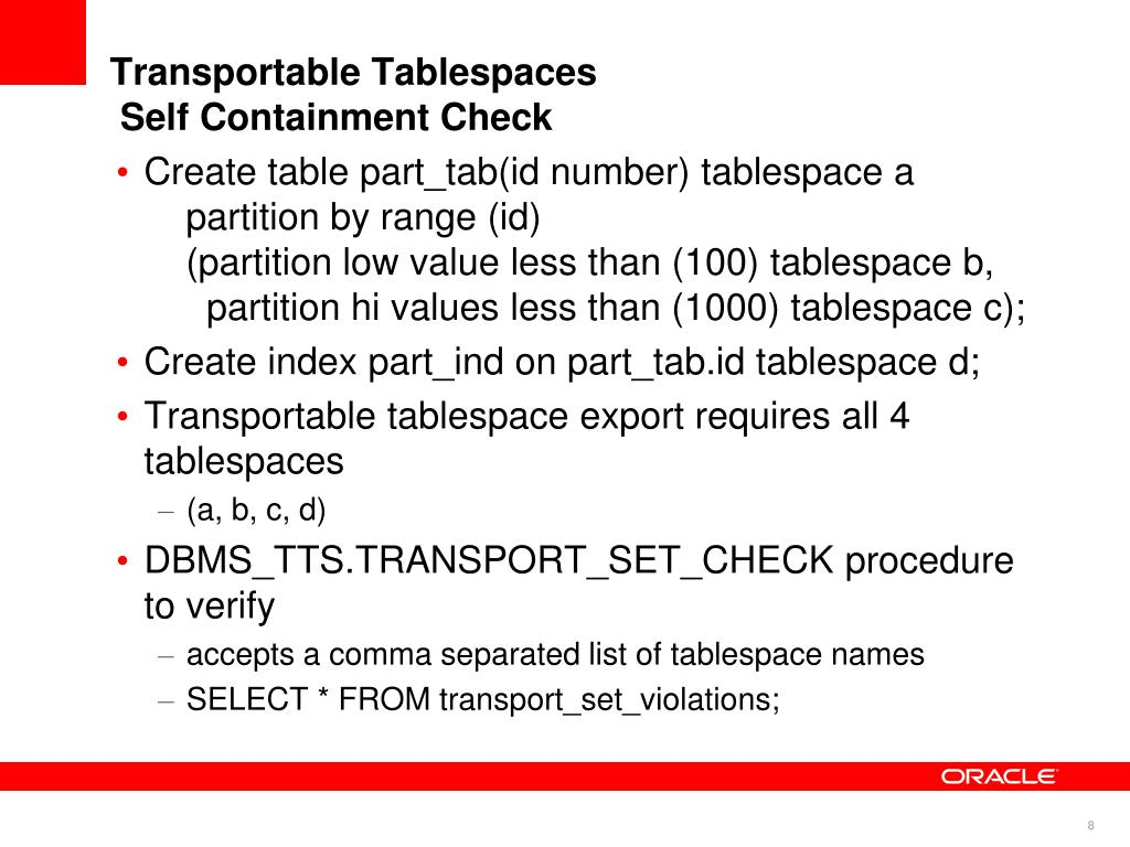 Transportable Tablespaces