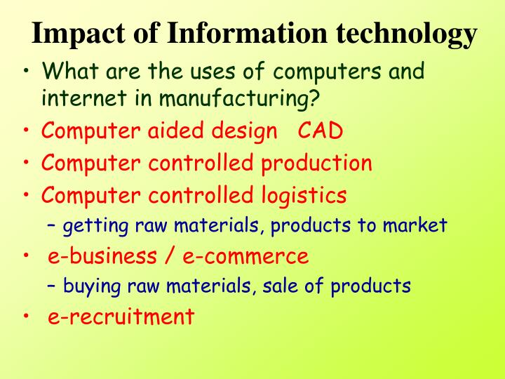 Impact of Information technology