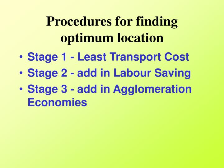 Procedures for finding optimum location